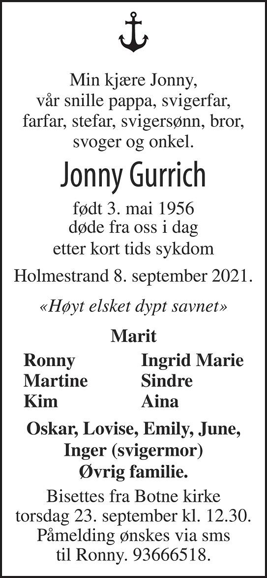 Jonny Gurrich Dødsannonse