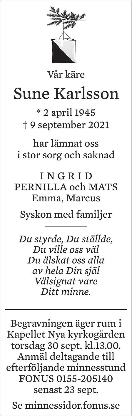 Sune Karlsson Death notice