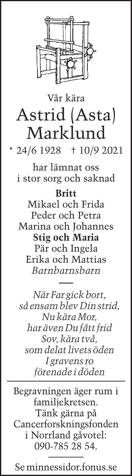 Astrid Marklund Death notice