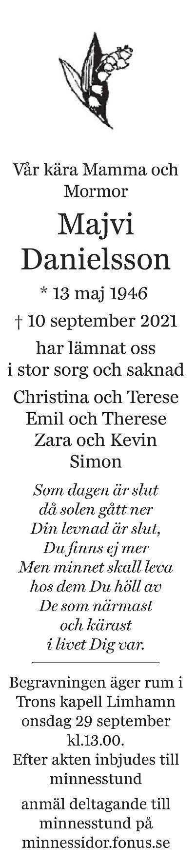 Majvi Danielsson Death notice