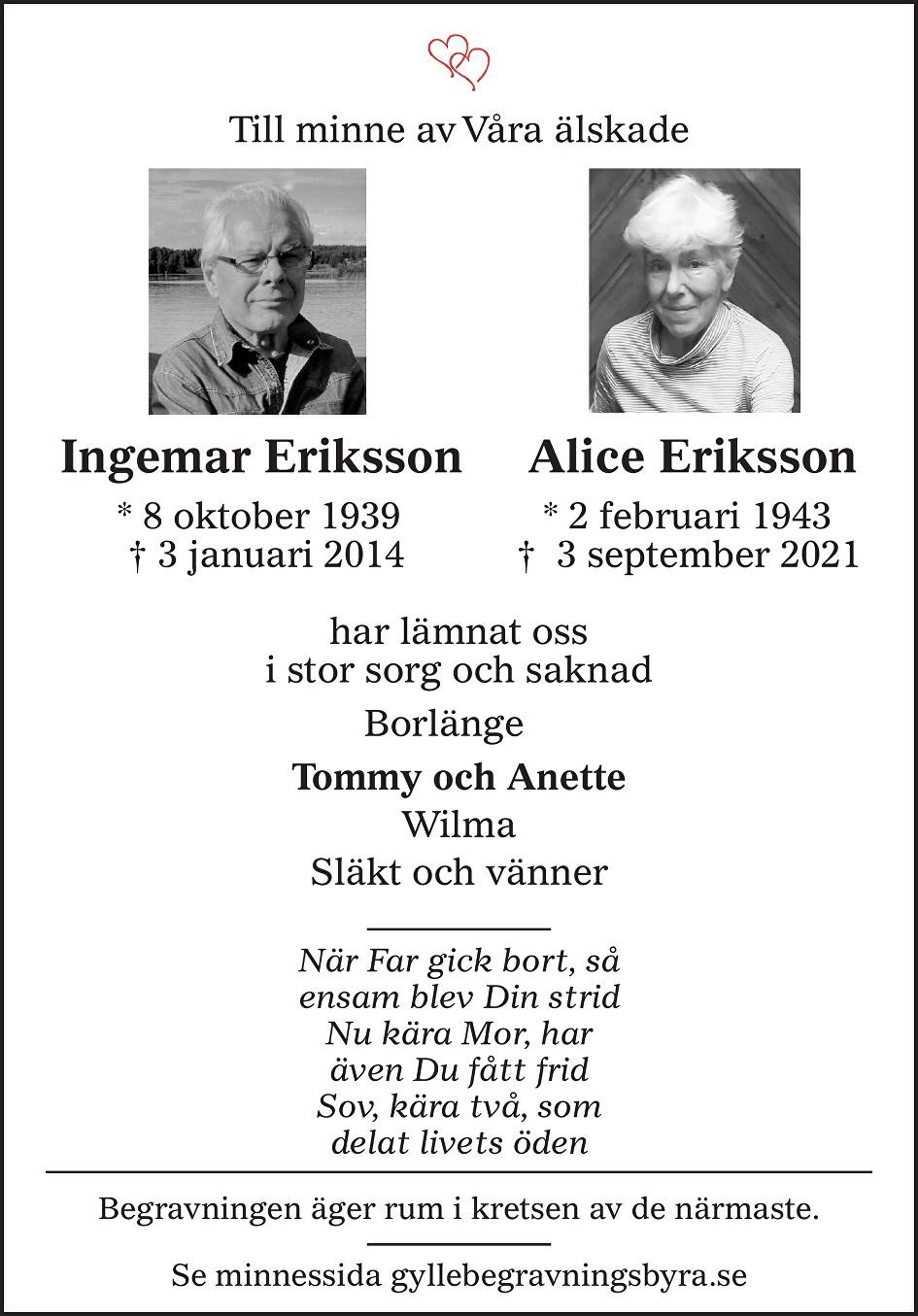 Alice Eriksson Death notice