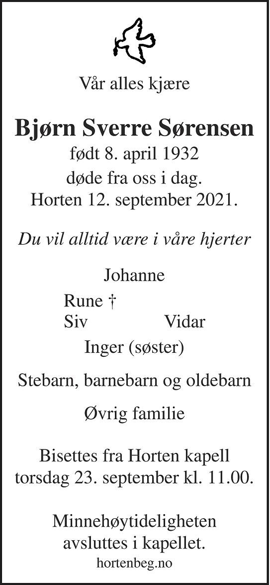 Bjørn Sverre Sørensen Dødsannonse