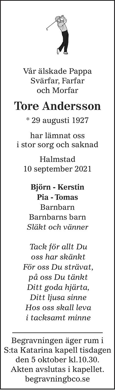 Tore Andersson Death notice