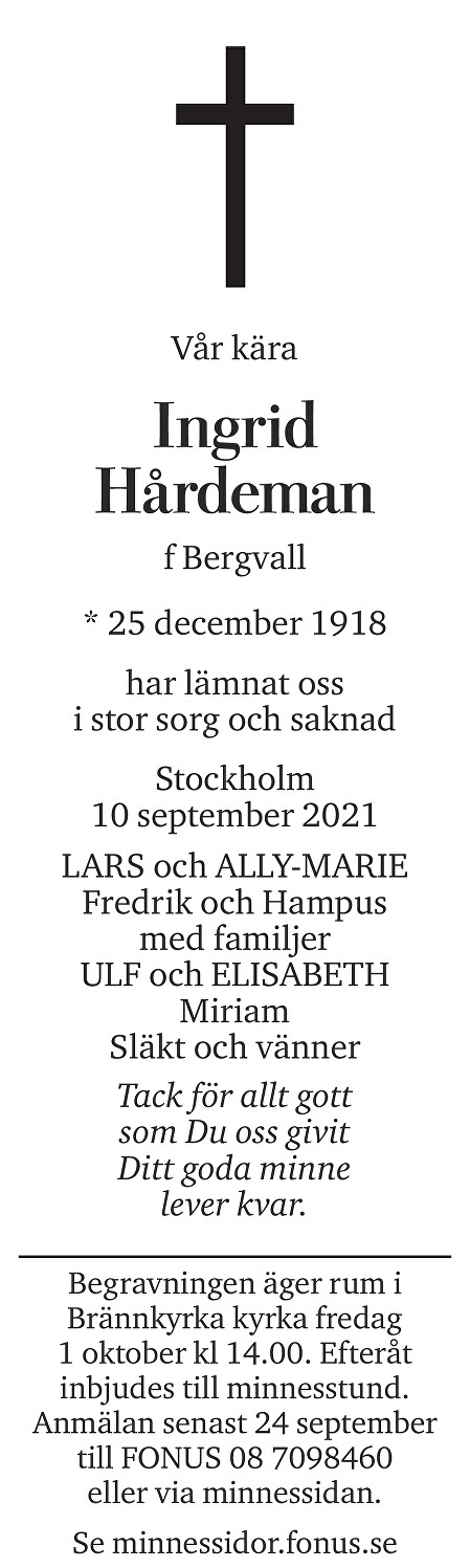 Ingrid Hårdeman Death notice