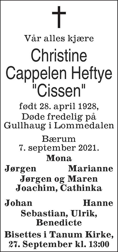 Christine  Cappelen Heftye Dødsannonse