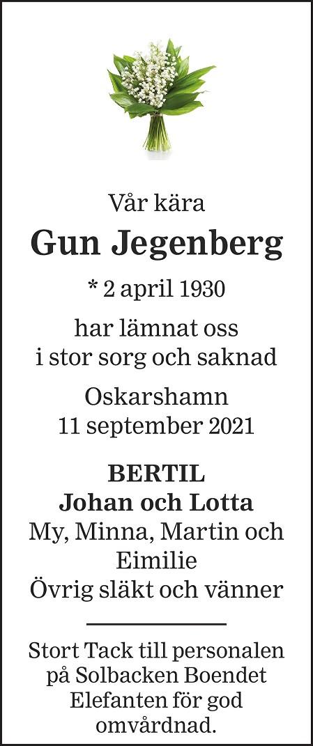 Gun Jegenberg Death notice