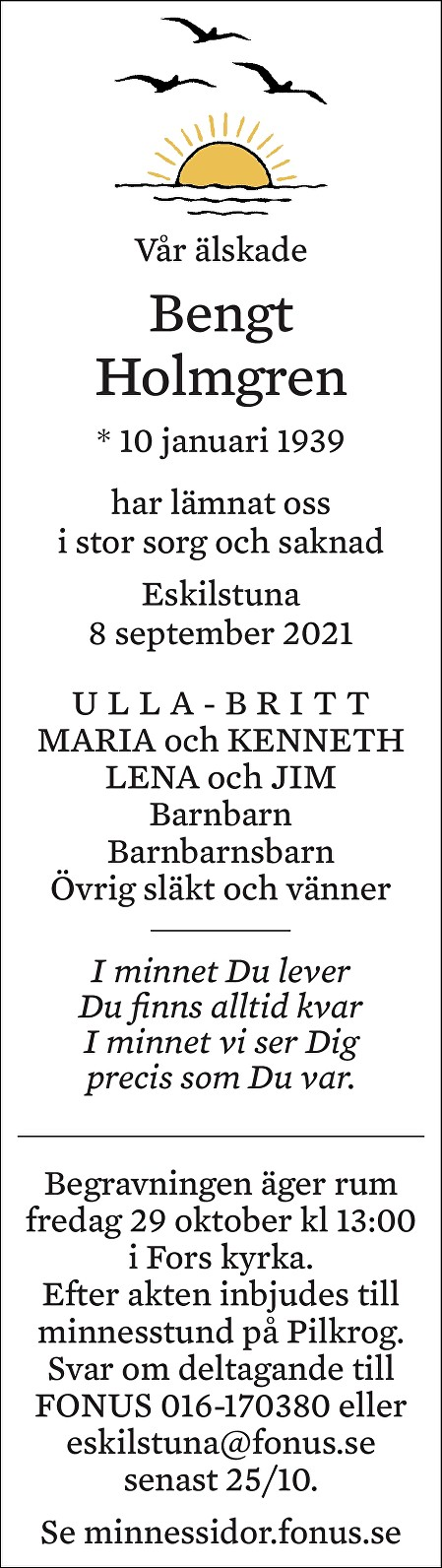 Bengt Holmgren Death notice