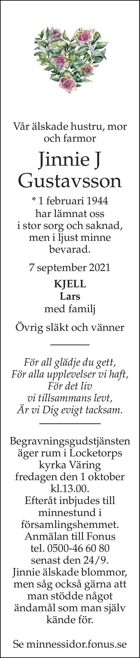 Jinnie J Gustavsson Death notice