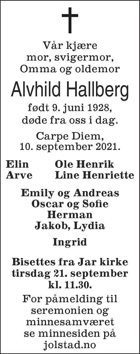 Alvhild Hallberg Dødsannonse