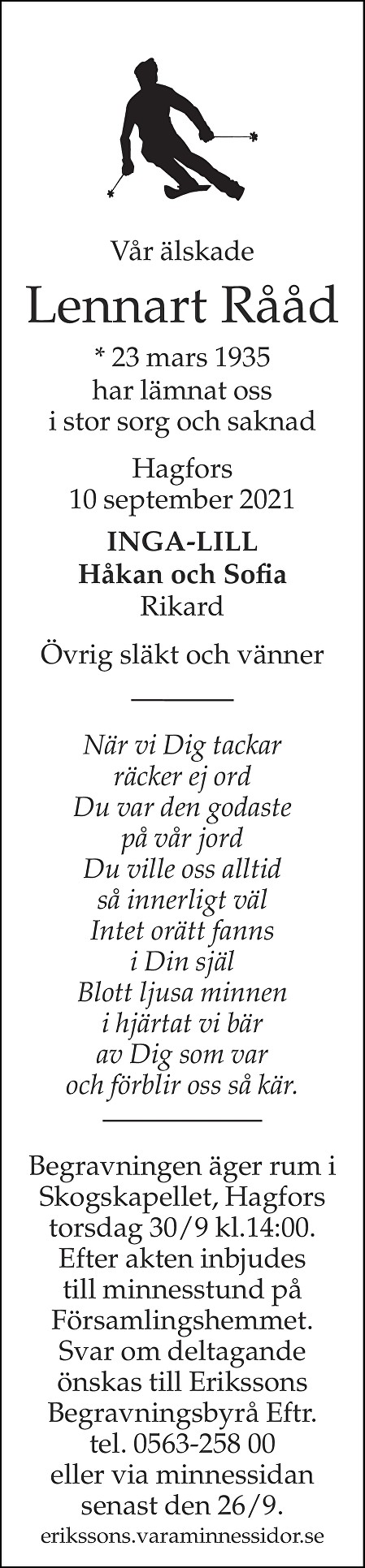 Lennart Rååd Death notice