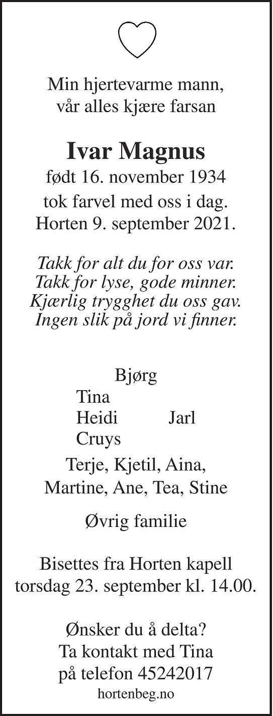 Ivar Magnus Dødsannonse