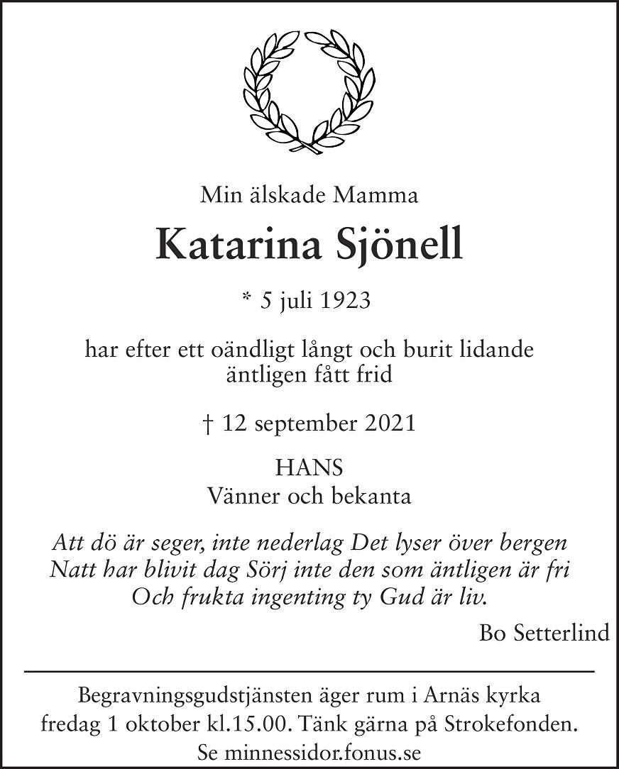 Katarina Sjönell Death notice
