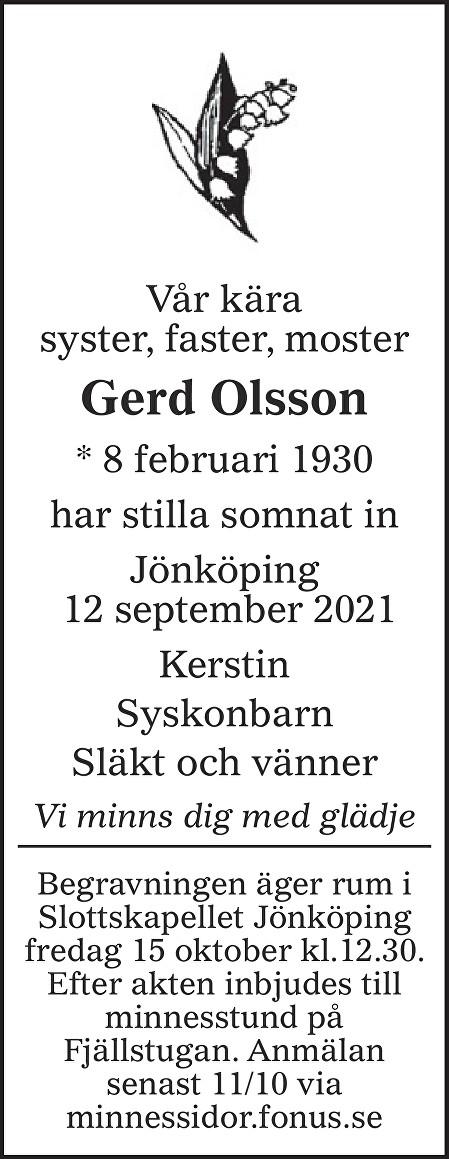 Gerd Olsson Death notice