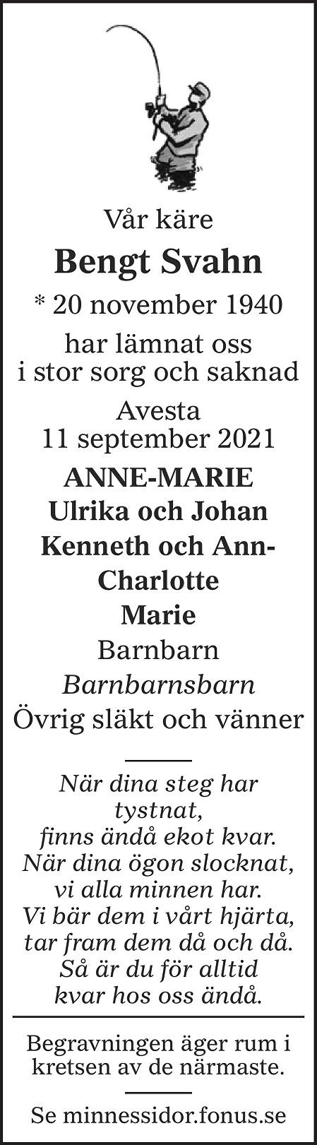 Bengt Svahn Death notice