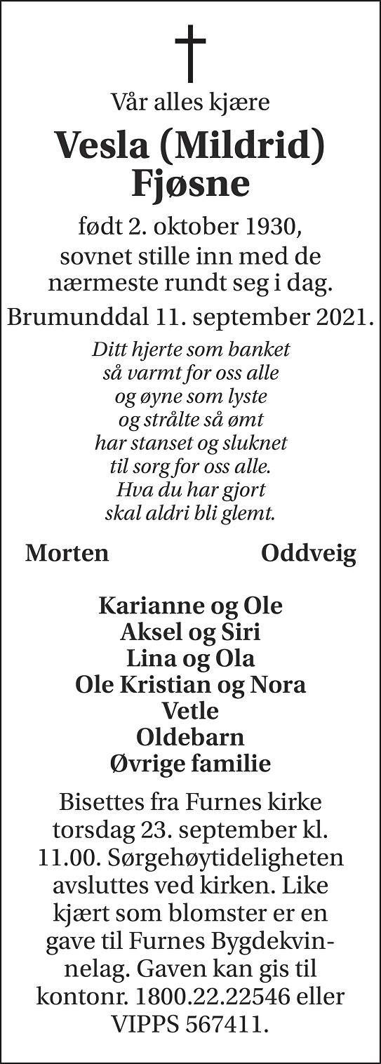 Mildrid (Vesla) Fjøsne Dødsannonse