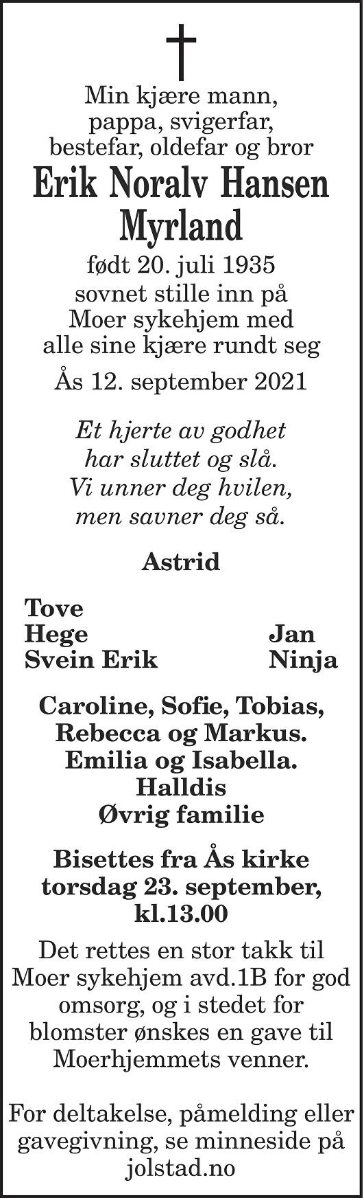 Erik Noralv Hansen Myrland Dødsannonse