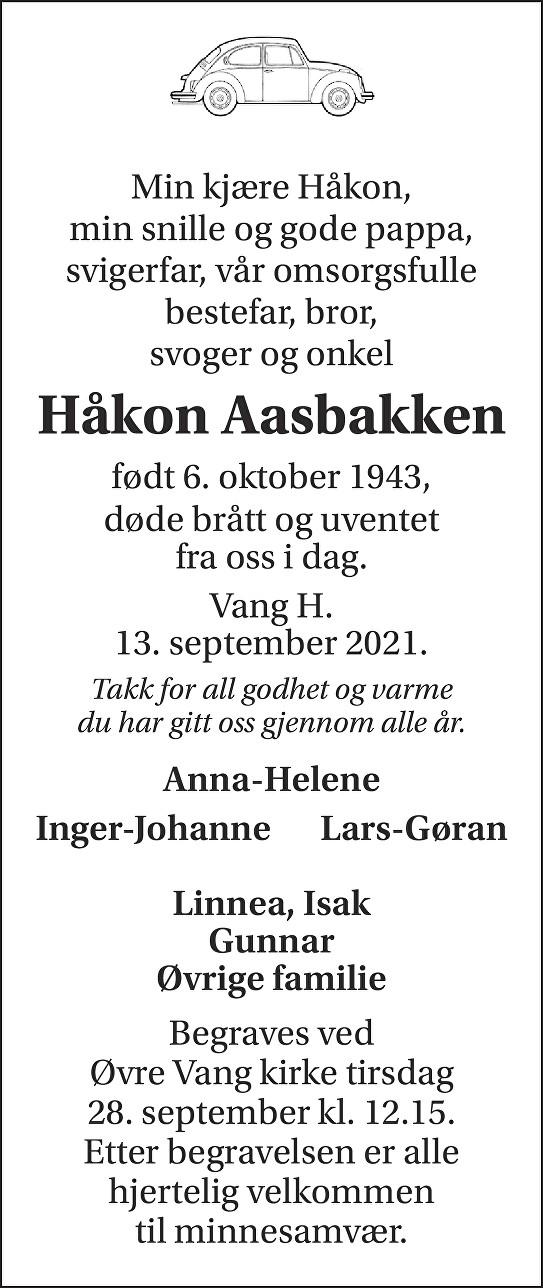 Håkon Aasbakken Dødsannonse