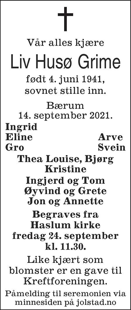 Liv Husø Grime Dødsannonse