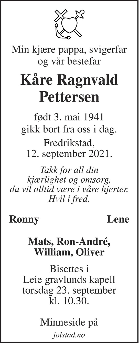 Kåre Ragnvald Pettersen Dødsannonse