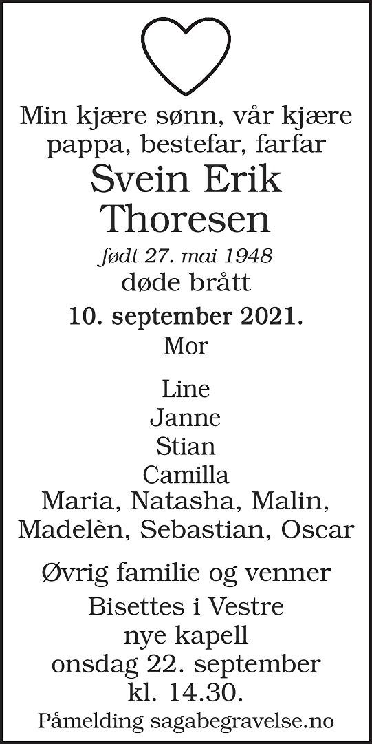 Svein Erik  Thoresen Dødsannonse