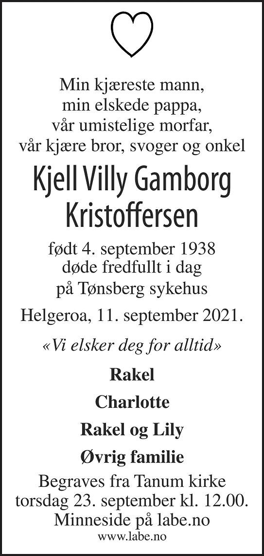 Kjell Villy Gamborg Kristoffersen Dødsannonse