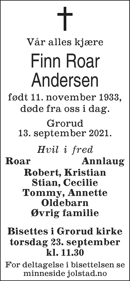 Finn Roar Andersen Dødsannonse