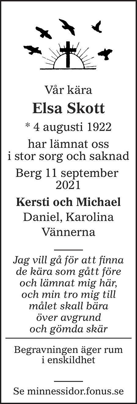 Elsa Skott Death notice