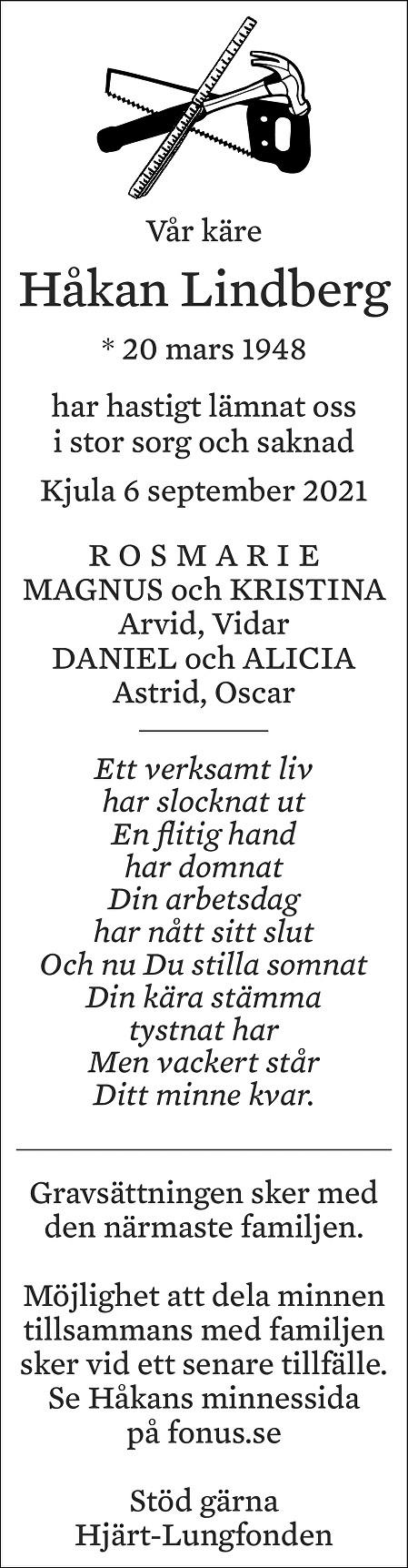 Håkan Lindberg Death notice