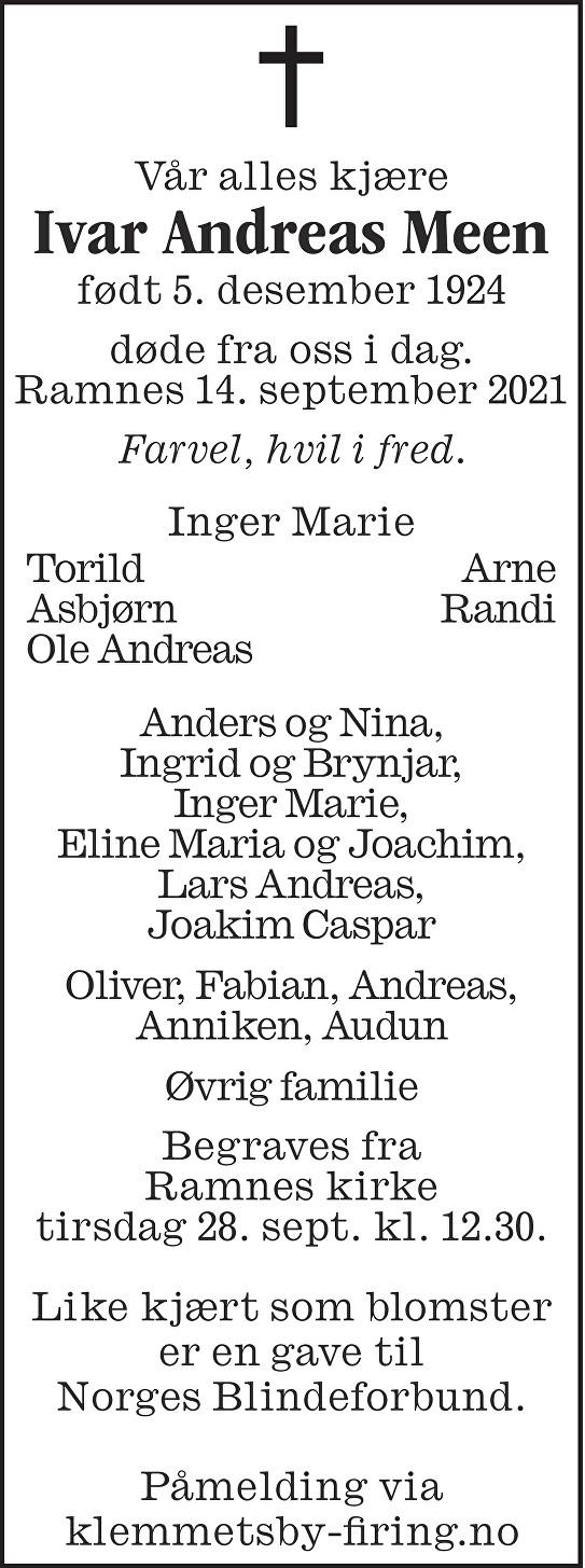 Ivar Andreas Meen Dødsannonse