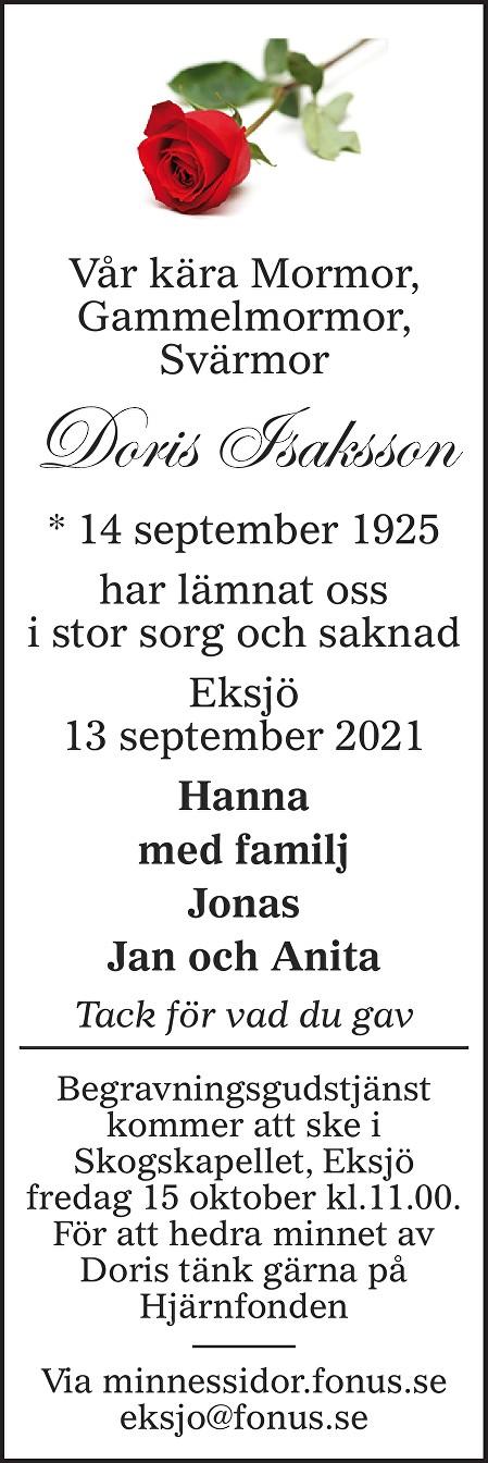 Doris Isaksson Death notice