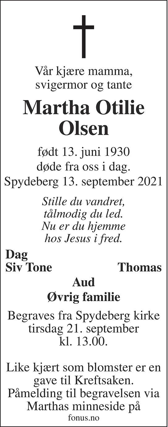 Martha Otilie Olsen Dødsannonse