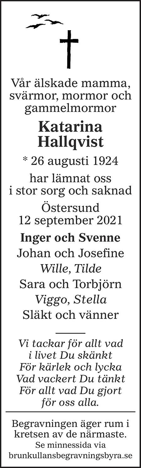 Katarina Hallqvist Death notice