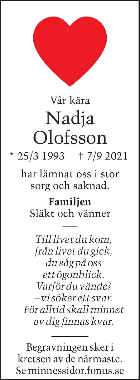 Nadja Olofsson Death notice