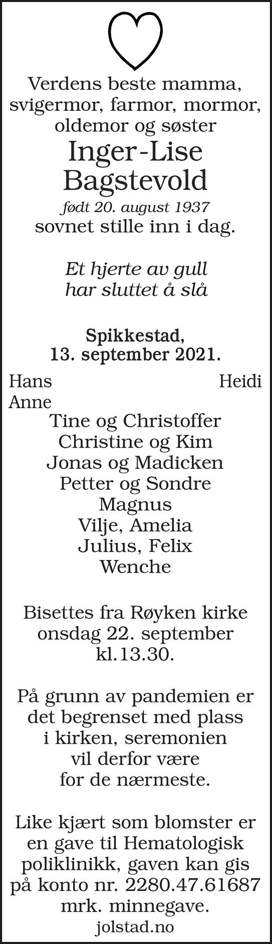 Inger-Lise Bagstevold Dødsannonse