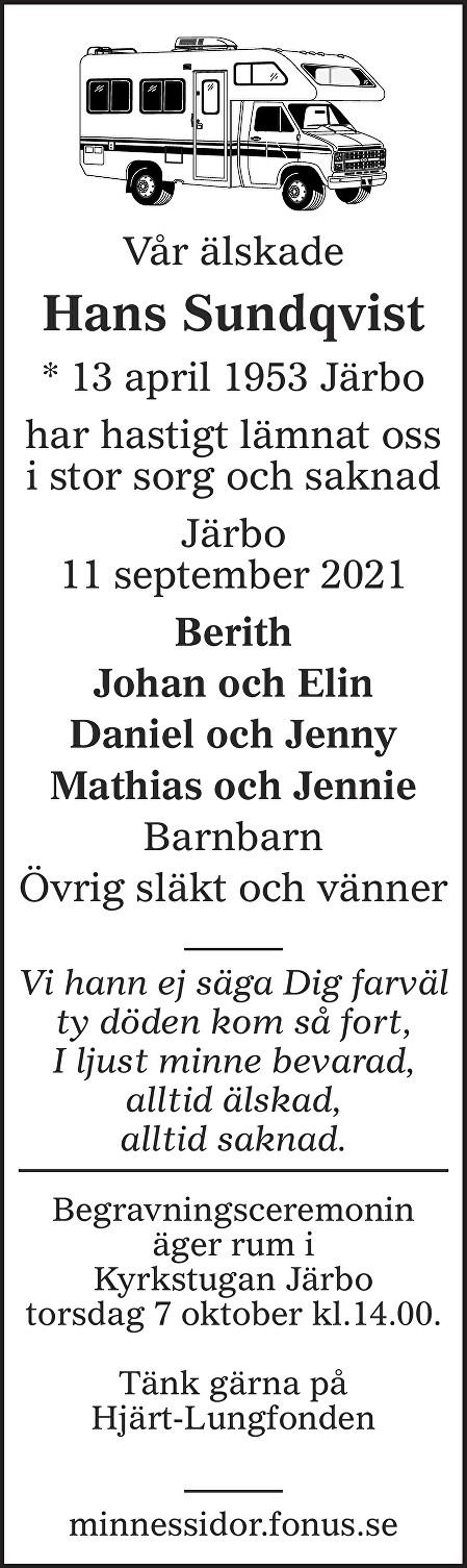 Hans Sundqvist Death notice