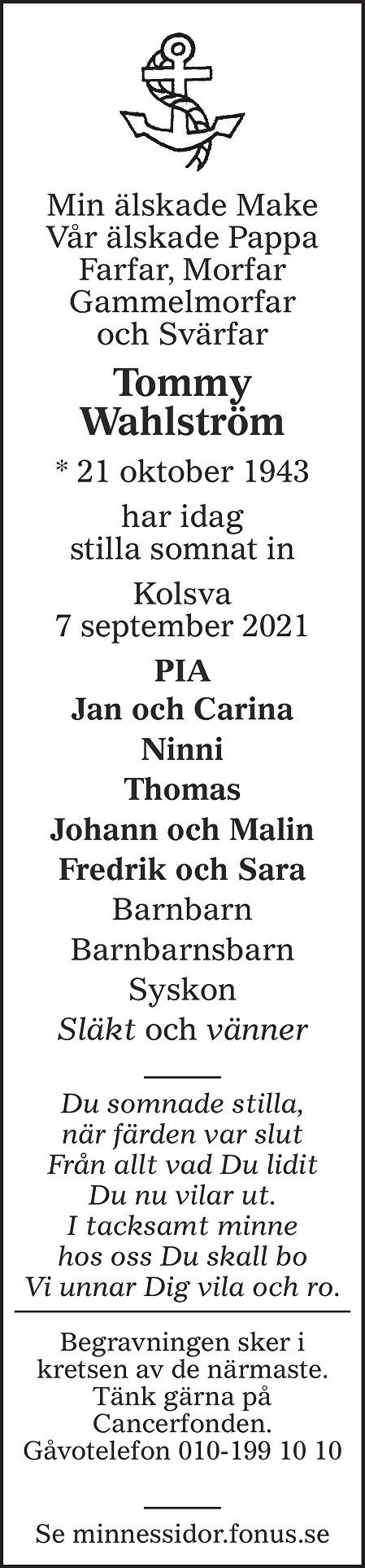 Tommy Wahlström Death notice