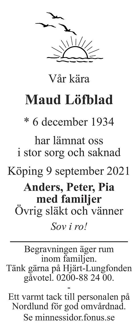Maud Löfblad Death notice