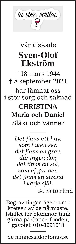 Sven-Olof Ekström Death notice