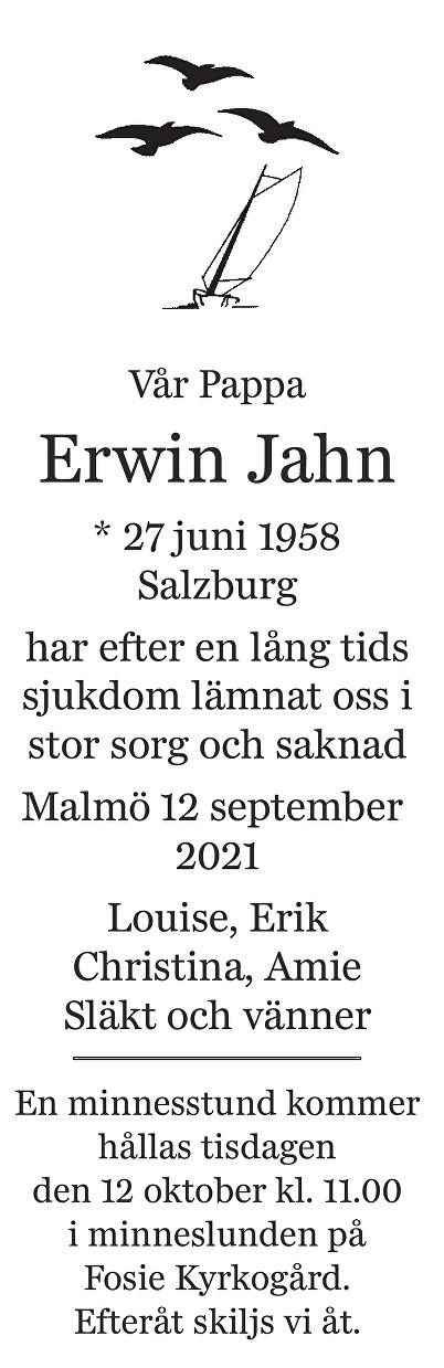 Erwin Jahn Death notice