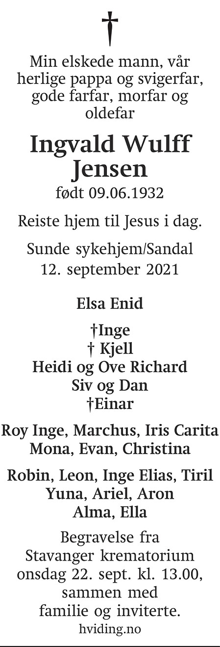 Ingvald Wulff Jensen Dødsannonse