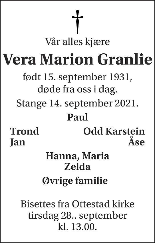 Vera Marion Granlie Dødsannonse