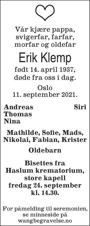 Sven Erik Klemp Dødsannonse