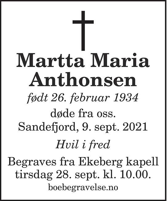 Martta Maria Anthonsen Dødsannonse