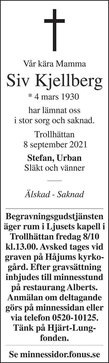 Siv Kjellberg Death notice