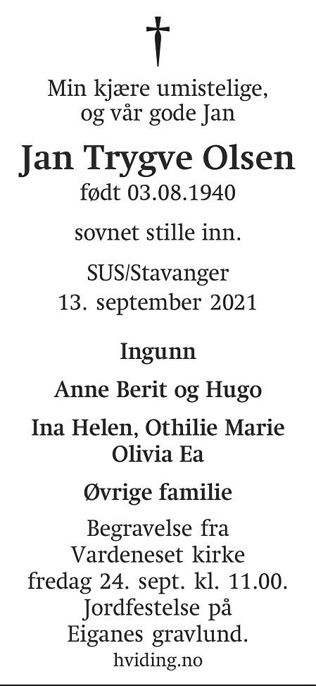 Jan Trygve Olsen Dødsannonse