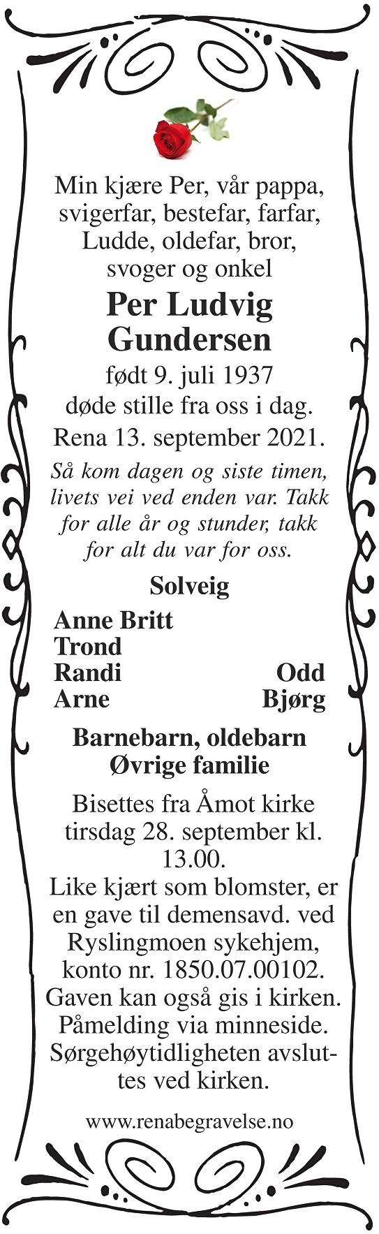 Per Ludvig Gundersen Dødsannonse