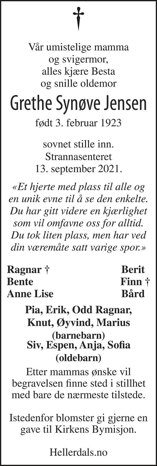 Grethe Synøve Jensen Dødsannonse