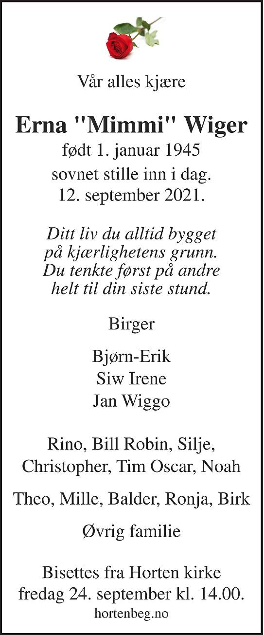 Erna Karin Wiger Dødsannonse