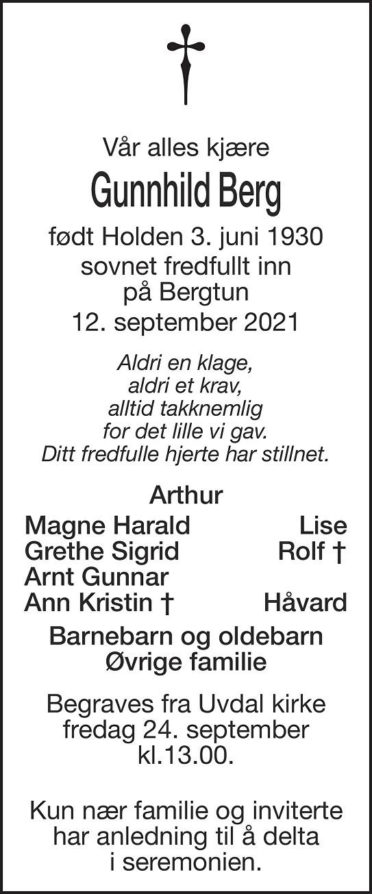 Gunnhild  Berg Dødsannonse