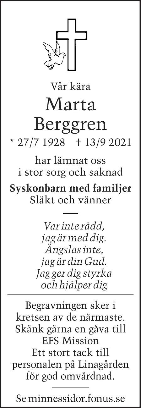 Marta Berggren Death notice